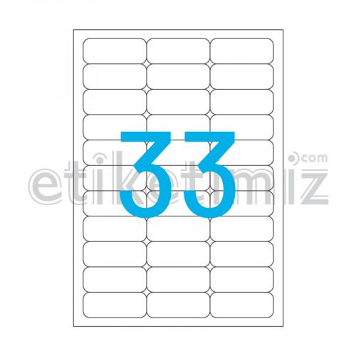 63.5x25.4 mm Yuvarlak Kenar Lazer Etiket